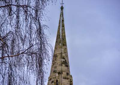Spire in the snow