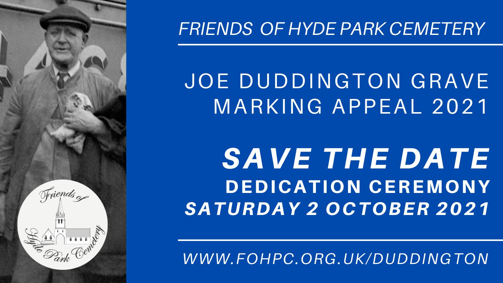 Joe Duddington Grave Marking Appeal Target Exceeded